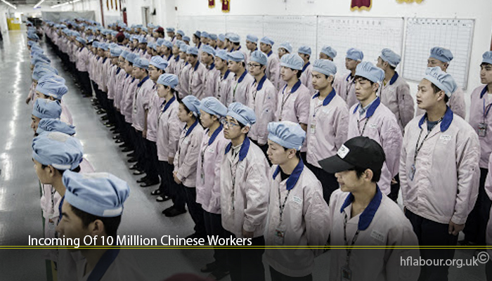 Incoming Of 10 Milllion Chinese Workers